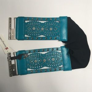 Charming Charlie Turquoise Wide Studded Belt